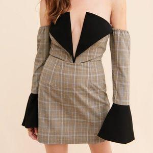 Atoir Sharp Edges Mini Strapless Dress